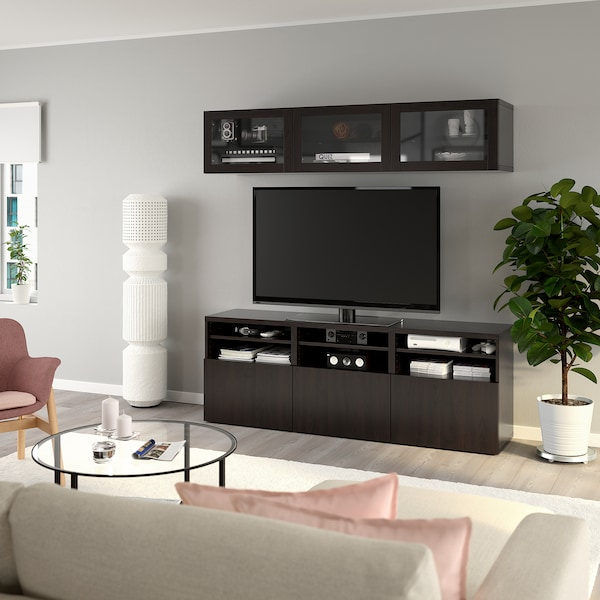 BESTÅ تشكيلة تخزين تلفزيون/أبواب زجاجية, Lappviken/Sindvik أسود-بني زجاج شفاف, 180x40x192 سم