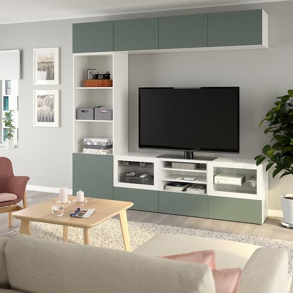 BESTÅ TV storage combination/glass doors, white/Notviken grey-green clear glass, 240x42x230 cm
