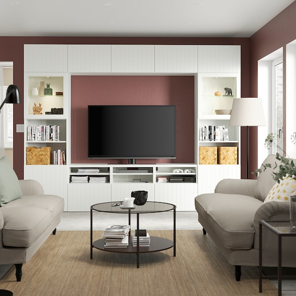 BESTÅ تشكيلة تخزين تلفزيون/أبواب زجاجية, أبيض Sutterviken/Sindvik أبيض زجاج شفاف, 300x42x231 سم