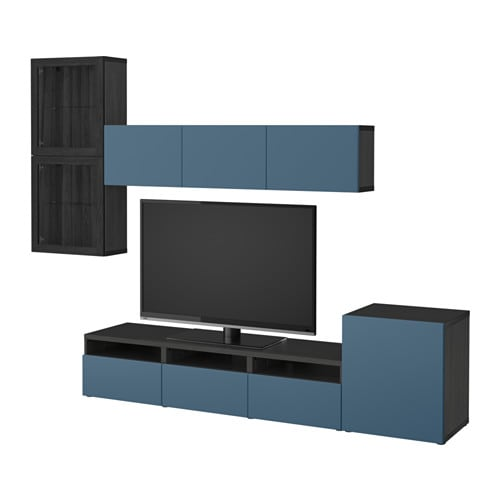 Wohnwand ikea besta  BESTÅ TV storage combination/glass doors - black-brown Valviken ...