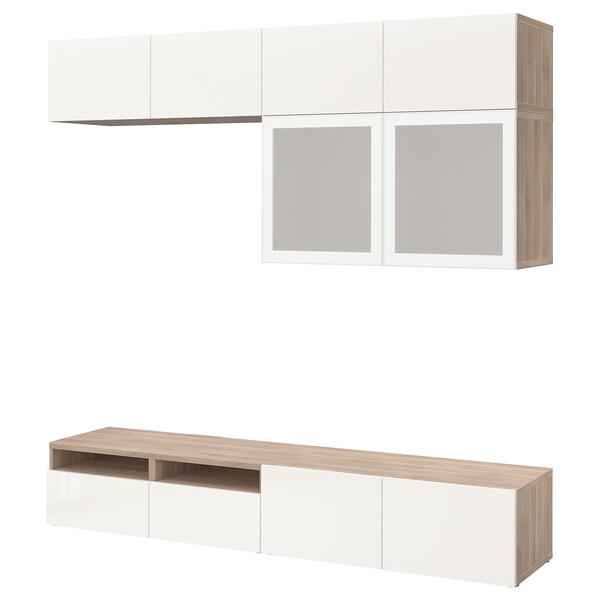 "BESTÅ TV storage combination/glass doors grey stained walnut effect/Selsviken high-gloss/white frosted glass 240 cm 40 cm 230 cm 10 kg 70 """