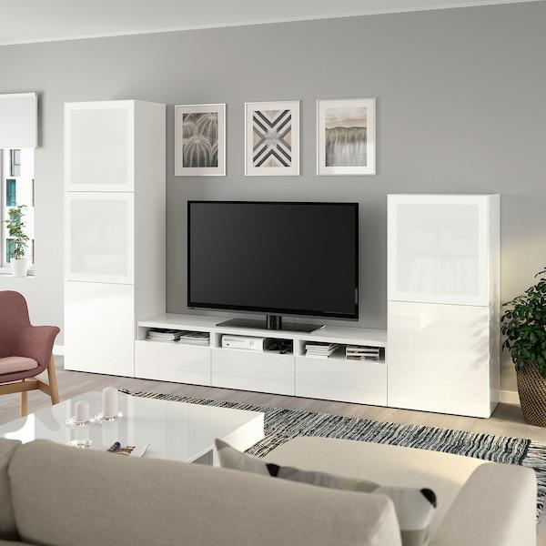 BESTÅ TV storage combination/glass doors white/Selsviken high-gloss/white frosted glass 300 cm 42 cm 193 cm