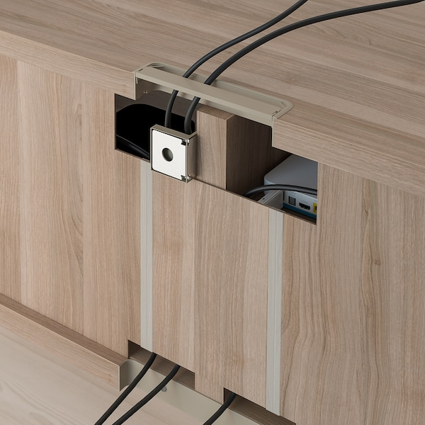 Tv Storage Combination Bestå Grey Stained Walnut Effect Lappviken Notvikenstubbarp Grey Green