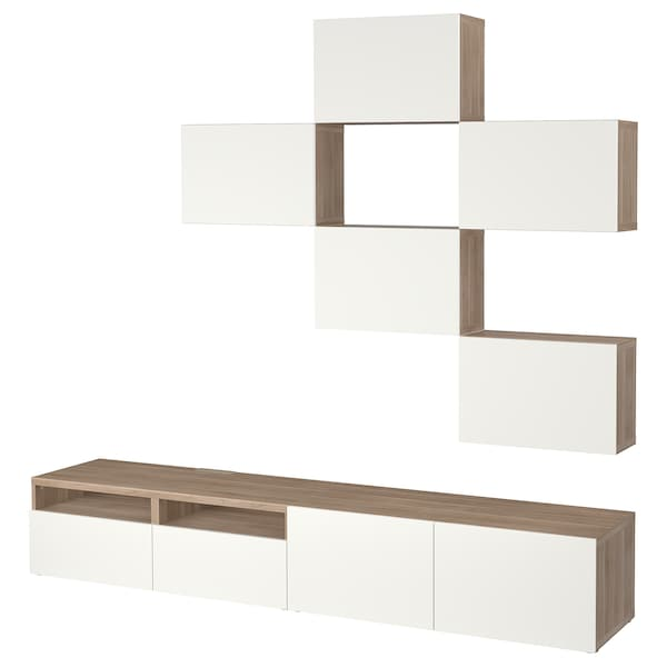 Tv Storage Combination Bestå Grey Stained Walnut Effect Lappviken White