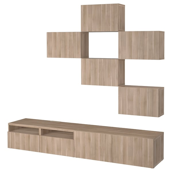 Tv Storage Combination Bestå Lappviken Grey Stained Walnut Effect
