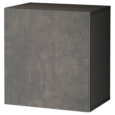 BESTÅ تشكيلة خزانة حائطية, أسود-بني Kallviken/رمادي غامق تأثيرات ماديّة., 60x42x64 سم