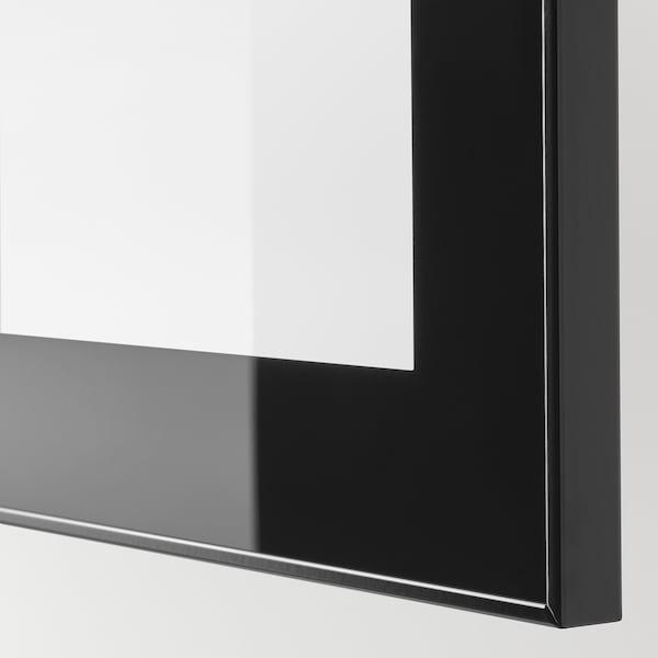 BESTÅ تشكيلة خزانة حائطية, أسود/لامع/Glassvik, 60x42x64 سم