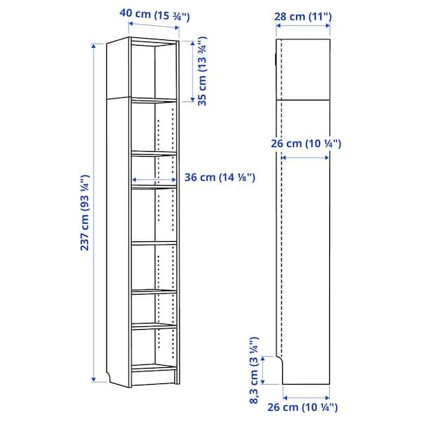 BILLY Bookcase, white, 40x28x237 cm