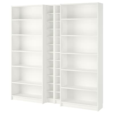 BILLY / GNEDBY Bookcase, white, 200x28x202 cm