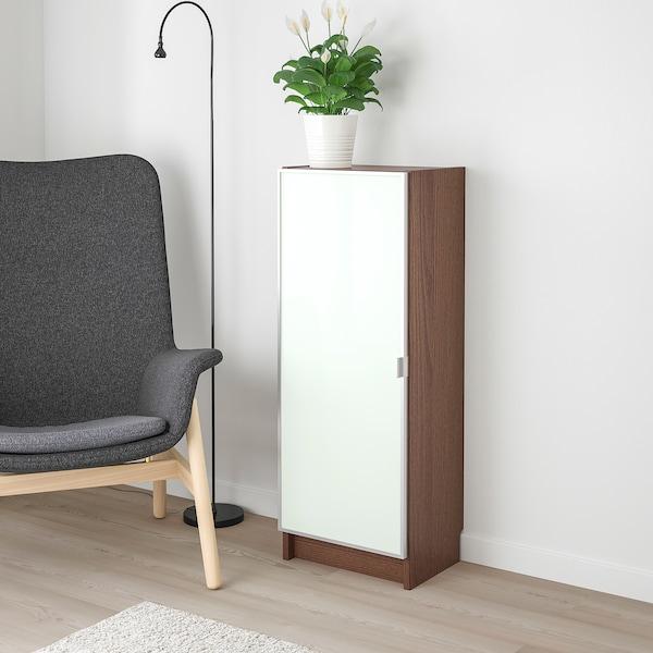 BILLY / MORLIDEN Bookcase with glass door, brown ash veneer/glass, 40x30x106 cm