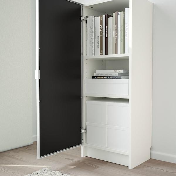 BILLY / MORLIDEN مكتبة مع باب زجاجي, أبيض/زجاج, 40x30x106 سم