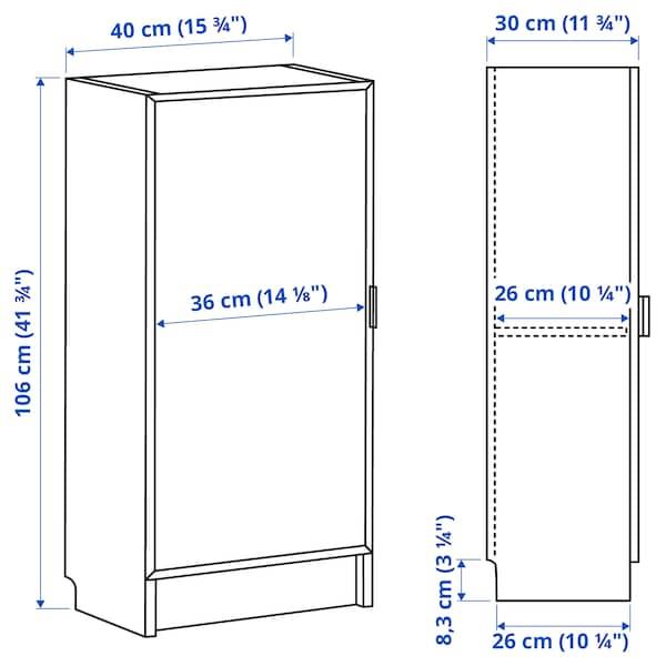 BILLY / MORLIDEN Bookcase with glass door, white/glass, 40x30x106 cm