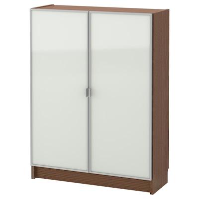 BILLY / MORLIDEN مكتبة بأبواب زجاجية, بني قشرة خشب الدردار/زجاج, 80x30x106 سم
