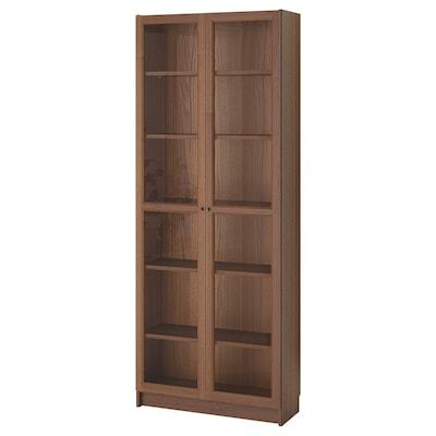 BILLY / OXBERG مكتبة, بني قشرة خشب الدردار, 80x30x202 سم