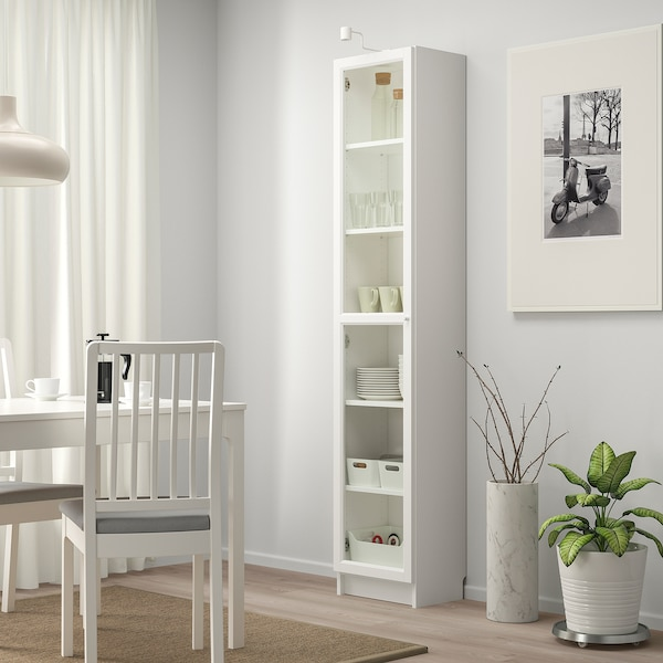 BILLY / OXBERG Bookcase with glass door, white/glass, 40x30x202 cm