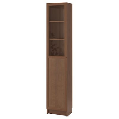 BILLY / OXBERG Bookcase with panel/glass door, brown ash veneer/glass, 40x30x202 cm