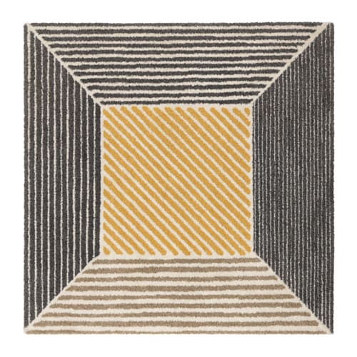 BIRKET Rug, high pile, yellow, grey