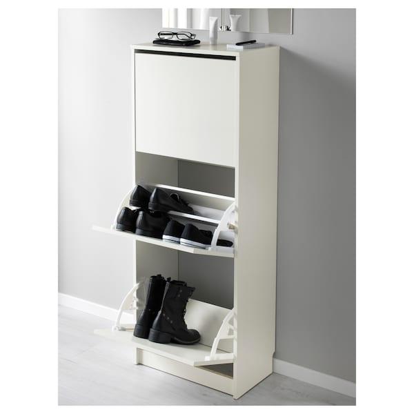 BISSA خزانة أحذية بـ 3 حجيرات, أبيض, 49x28x135 سم