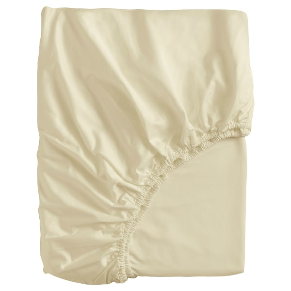 BJÖRKAL Fitted sheet, beige, 160x200 cm