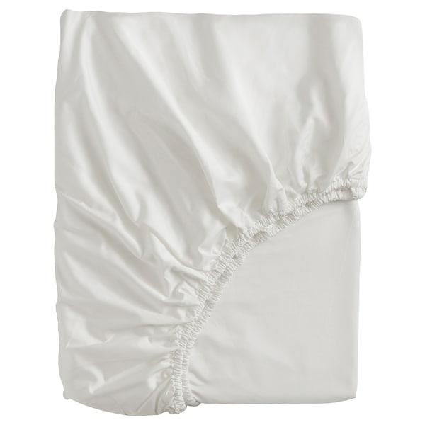 BJÖRKAL Fitted sheet, white, 180x200 cm