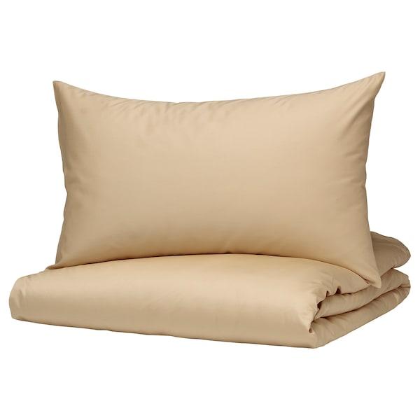 BJÖRKAL Quilt cover and pillowcase, beige, 150x200/50x80 cm