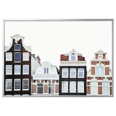 BJÖRKSTA Picture with frame, Amsterdam buildings/aluminium-colour, 200x140 cm