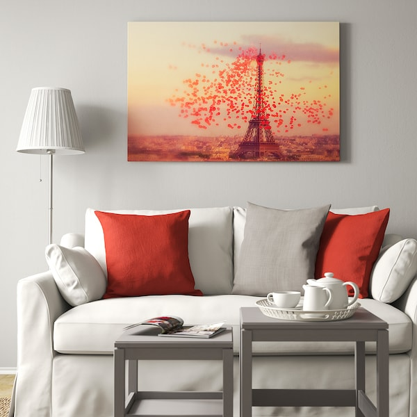 BJÖRKSTA Picture with frame, Eiffel tower/aluminium-colour, 140x100 cm