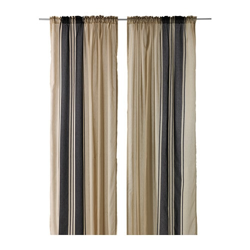 BJÖRNLOKA Curtains, 1 pair IKEA The curtains can be used on a curtain rod or KVARTAL curtain track.
