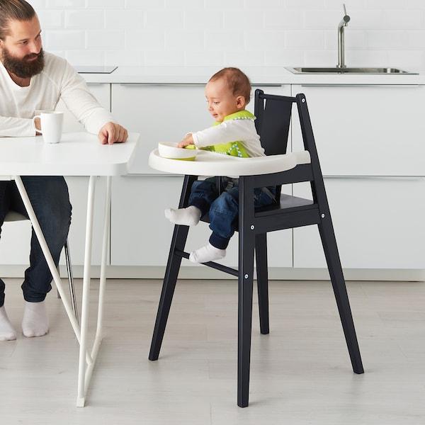 BLÅMES كرسي مرتفع مع صينية, أسود