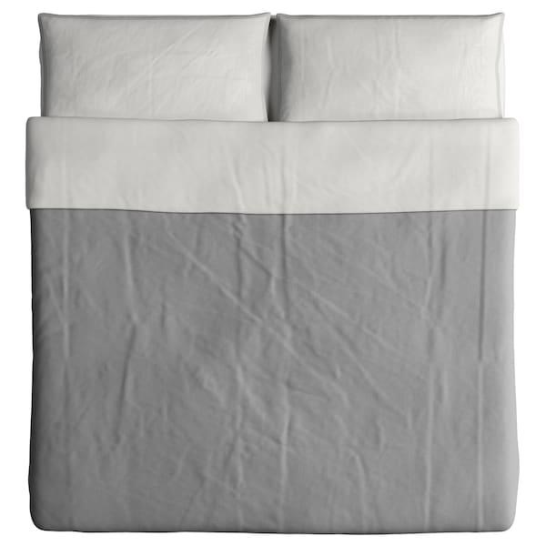 BLÅVINDA غطاء لحاف و ٢ غطاء مخدة, رمادي, 240x220/50x80 سم