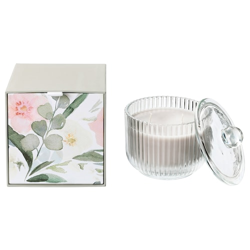 BLOMDOFT scented candle in glass, 2 wicks Gladiolus/grey 11 cm 11 cm 30 hr
