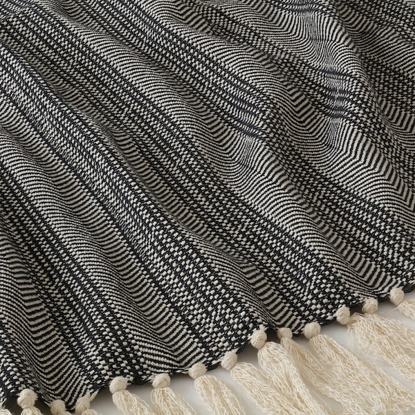 BOLLMÅRA غطاء, رمادي غامق/أبيض, 150x200 سم