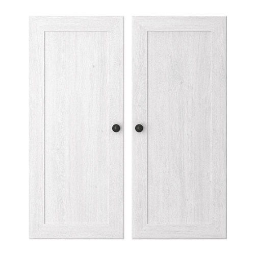 BORGSJÖ Door IKEA Panel doors for hidden, dust-free storage of DVDs, accessories, etc.  Adjustable hinges; adjust vertically and horizontally.