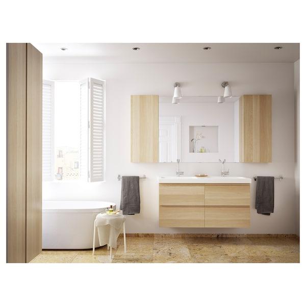 BRÅVIKEN Double wash-basin, white, 120x48x10 cm