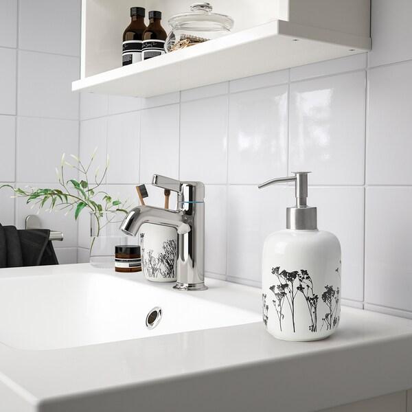 BREDSELET موزع صابون, أبيض/أسود/زهرة