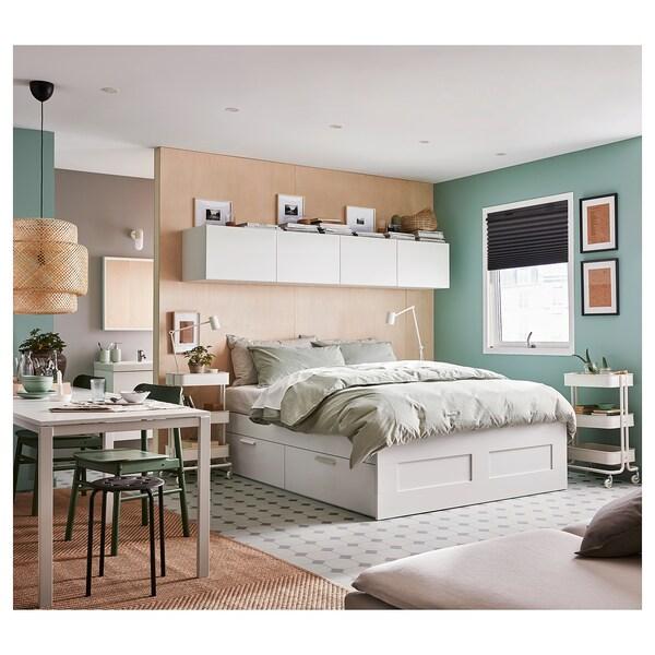 BRIMNES هيكل سرير+تخزين, أبيض/Leirsund, 180x200 سم