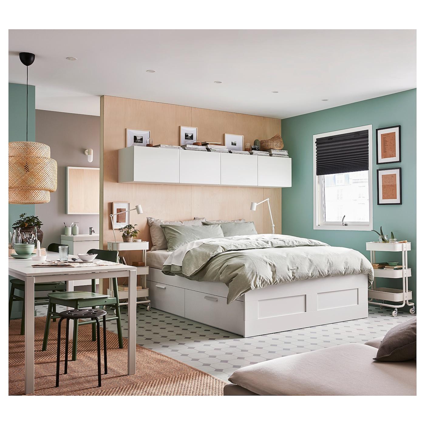 BRIMNES Bed frame with storage - white/Luröy 3x3 cm