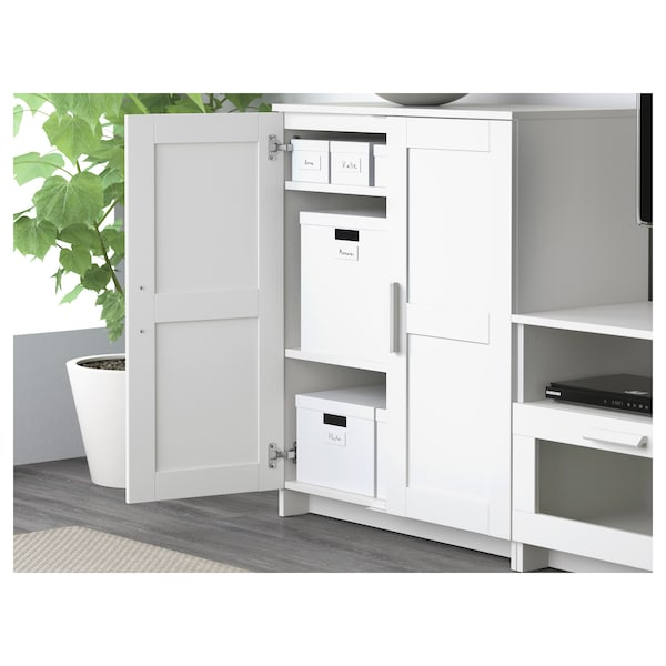 BRIMNES خزانة مع أبواب, أبيض, 78x95 سم