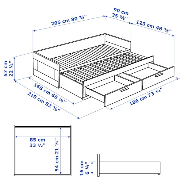 BRIMNES day-bed frame with 2 drawers white 21 cm 205 cm 86 cm 57 cm 87 cm 53 cm 160 cm 205 cm 20 kg 200 cm 80 cm