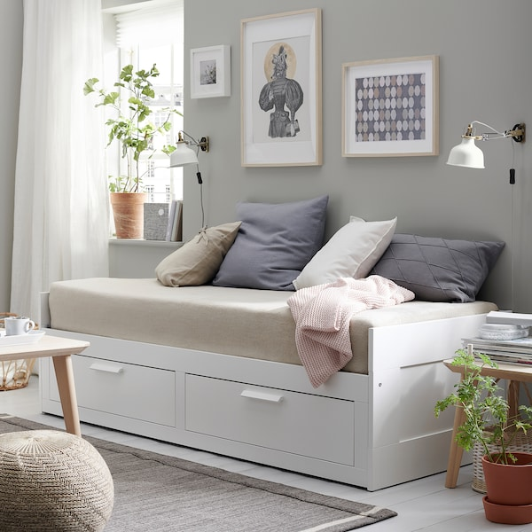 BRIMNES سرير نهار بدرجين/مرتبتين, أبيض/Husvika متين., 80x200 سم