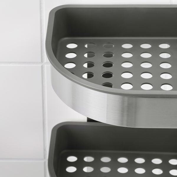 BROGRUND Corner wall shelf unit, stainless steel, 19x58 cm