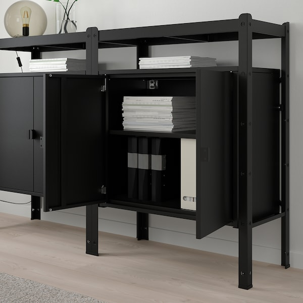 BROR Shelving unit with cabinets, black, 170x40x110 cm