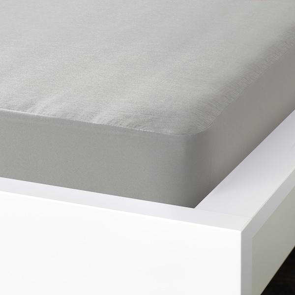 BRUDBORSTE Fitted sheet, grey, 160x200 cm