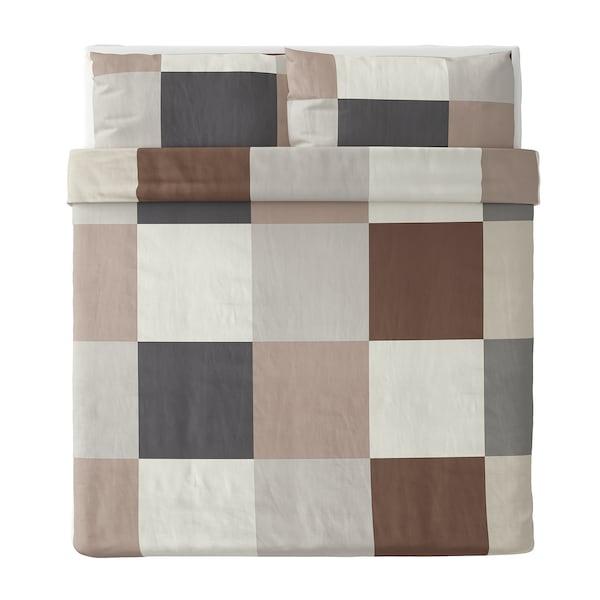 BRUNKRISSLA غطاء لحاف و ٢ غطاء مخدة, بني, 240x220/50x80 سم