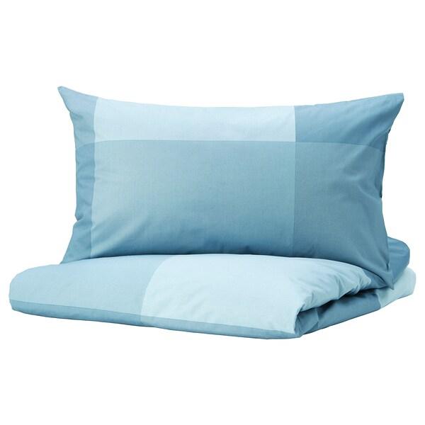 BRUNKRISSLA Quilt cover and pillowcase, light blue, 150x200/50x80 cm