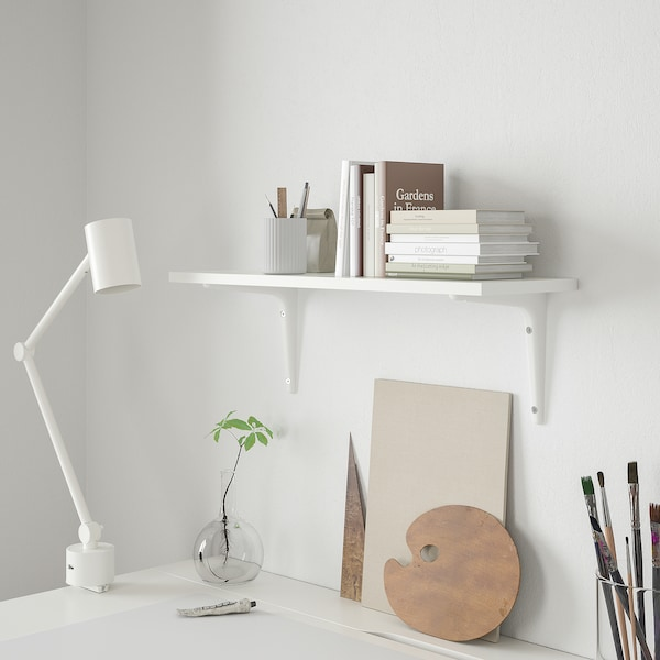 BURHULT / SIBBHULT رف حائط, أبيض/أبيض, 59x20 سم