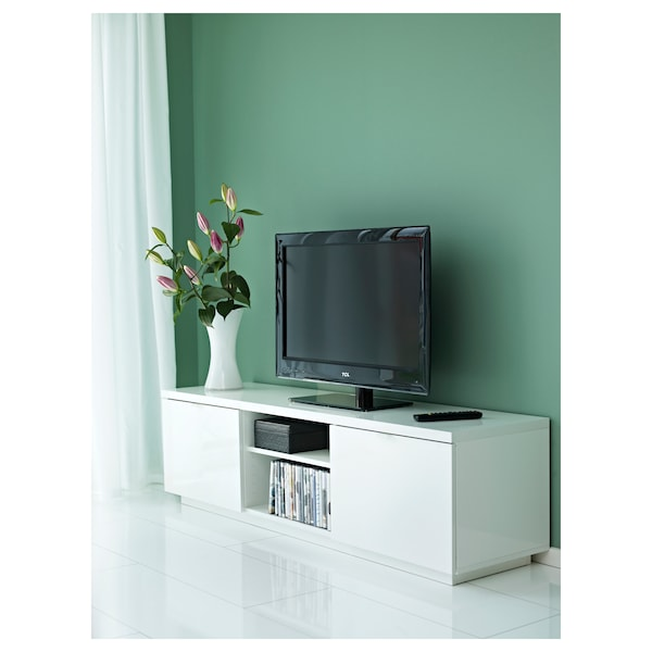 BYÅS TV bench high-gloss white 160 cm 42 cm 45 cm 50 kg 10 kg