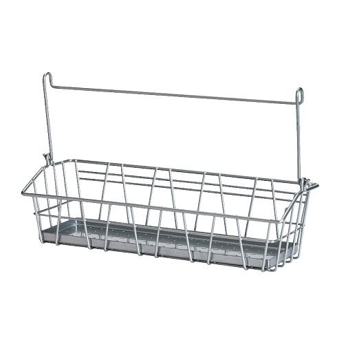 BYGEL Wire basket IKEA Can be hung on BYGEL rail, fixed to the wall or the inside of a kitchen cabinet frame or door.  Saves space on the worktop.