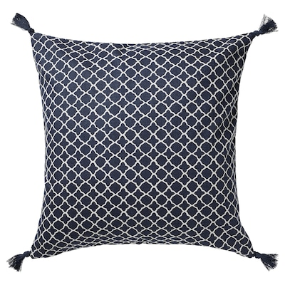 CITRUSTRÄD غطاء وسادة, أزرق/أبيض, 50x50 سم