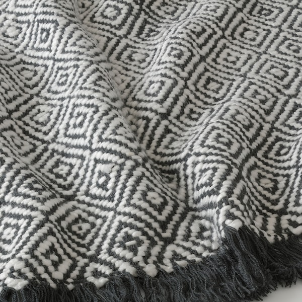 DAGFRID غطاء, رمادي غامق/أبيض-عاجي, 150x200 سم
